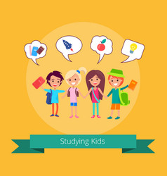 studying kids with small icons vector image