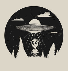 sweet humanoid landed from ufo in forest vector image vector image