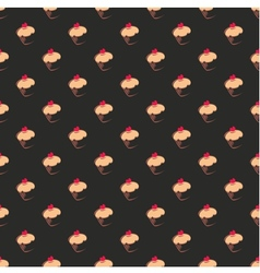 Tile pattern with cupcake on black background vector image vector image