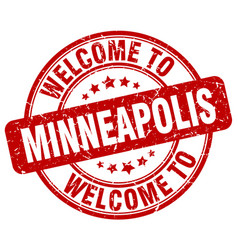 Welcome to minneapolis red round vintage stamp vector