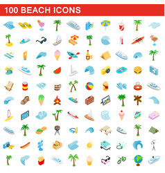 100 beach icons set isometric 3d style vector