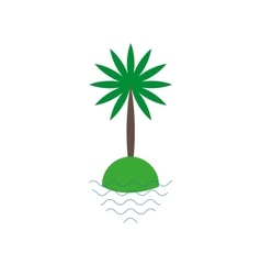 Palm tree on a small island icon vector