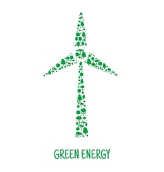 Wind turbine symbol made up of green trees vector