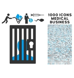 Prison icon with 1000 medical business pictograms vector