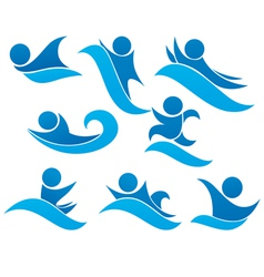 Collection of aqua park and swimming symbols vector
