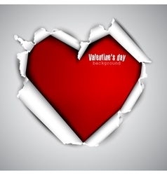 Torn paper with space for text red heart vector