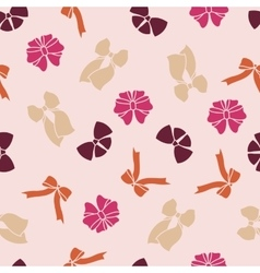 Pink seamless pattern with bows vector