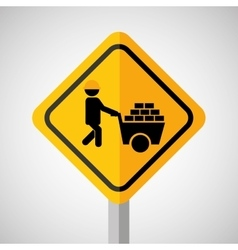 Under construction road sign wheelbarrow brick vector