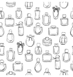 Seamless pattern with different bottles of woman vector