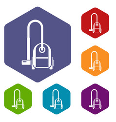 vacuum cleaner icons set vector image