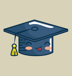hat graduation character handmade drawn vector image