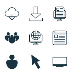 set of 9 world wide web icons includes computer vector image