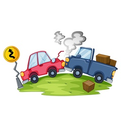 A car accident near the yellow signage vector