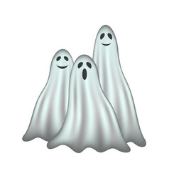 Three ghosts in ligh-blue design with face vector
