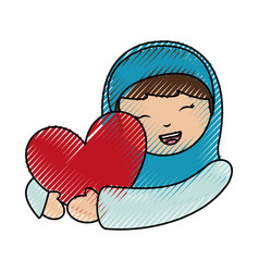 Holy mary virgin with heart character vector