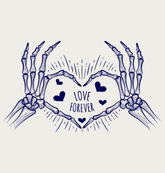 Love forever poster with skeleton hands vector