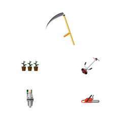 flat icon dacha set of hacksaw pump grass-cutter vector image