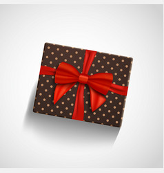 Gift box with red ribbon isolated realistic vector