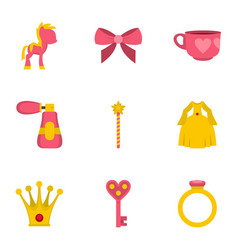 princess fairy tail icon set flat style vector image