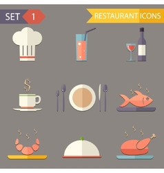 Retro flat restaurant icons and symbols set vector