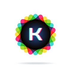 Retro bright colors logotype letter k vector