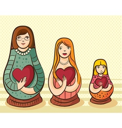 Matryoshka style doll with heart vector