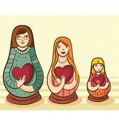 matryoshka style doll with heart vector image