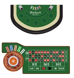 Blackjack and roulette tables vector
