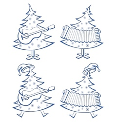 Christmas trees set musicians vector