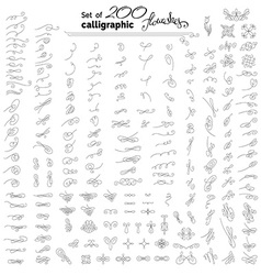 Set of more than 200 linear calligraphic vector