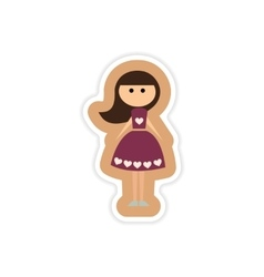 Paper sticker on white background friend bride vector