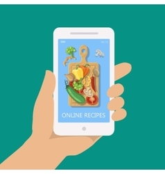 Online recipe on mobile phone in flat style vector
