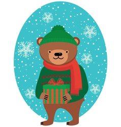Bear with Christmas gifts vector image vector image