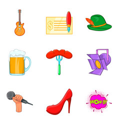 beer party icons set cartoon style vector image vector image