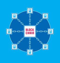 blockchain network computer technology vector image
