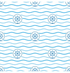 Blue ships wheel seamless pattern vector