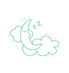 Crescent moon sleeping on the clouds vector