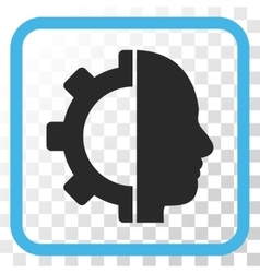 Cyborg gear icon in a frame vector