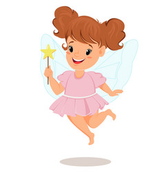Fairy girl in pink dress with magic wand cute vector