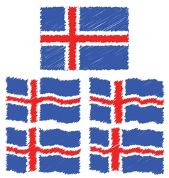 Flat and waving hand draw sketch flag of iceland vector