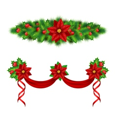 Garlands with poinsettia holly pine on white vector