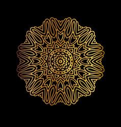 Golden vintage round patterns on black vector