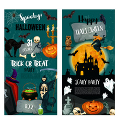 Halloween night trick or treat party poster design vector