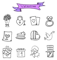 Hand draw of object valentine icons vector