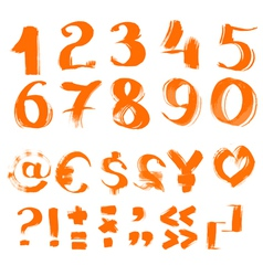 handwritten by a textured brush symbols vector image