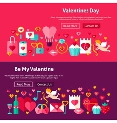 Happy valentines day website banners vector