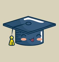 Hat graduation character handmade drawn vector