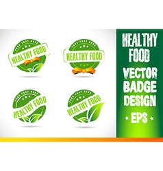Healthy food badge logo vector