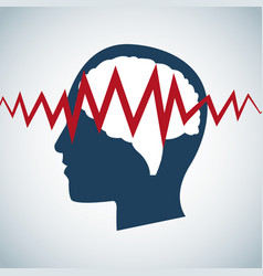 Human head brain pulse care vector