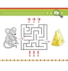 Labyrinth or maze game for children with cartoon vector image